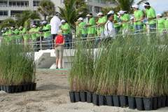 Volunteers are briefed on how to plant sea oats